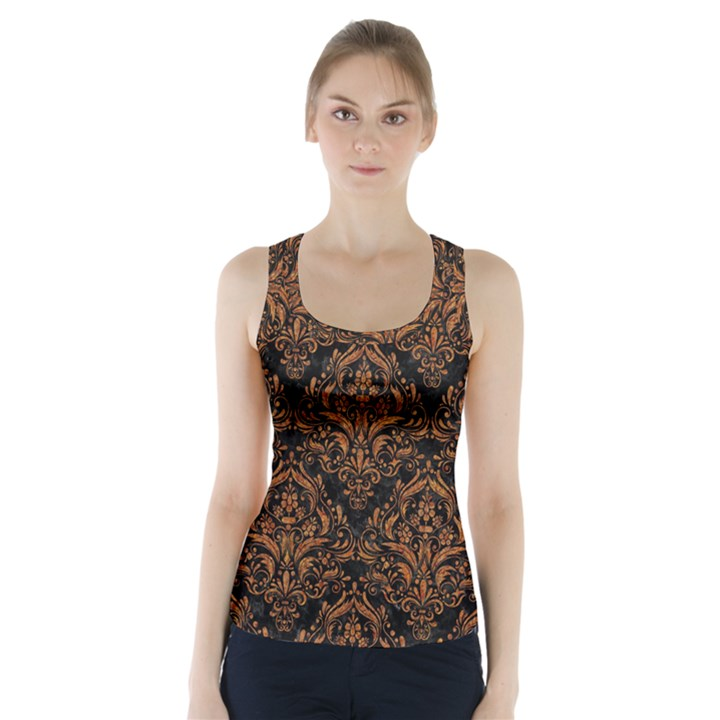 DAMASK1 BLACK MARBLE & RUSTED METAL (R) Racer Back Sports Top