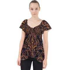 Damask1 Black Marble & Rusted Metal (r) Lace Front Dolly Top