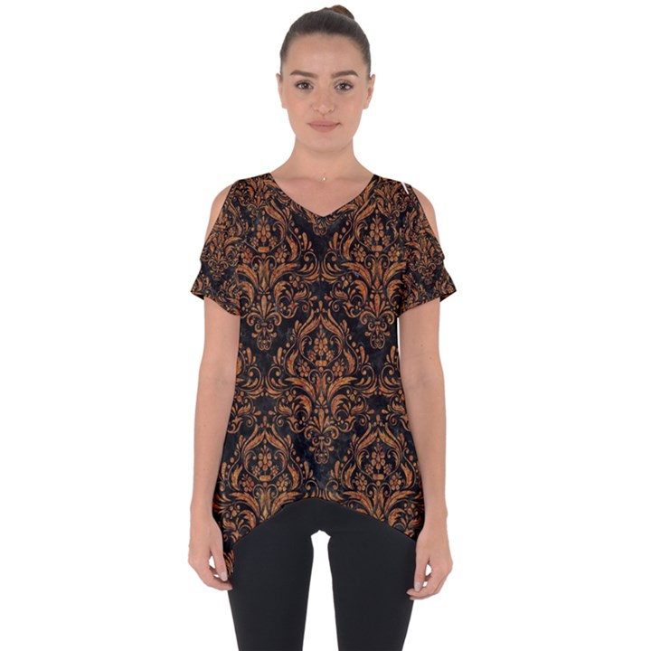 DAMASK1 BLACK MARBLE & RUSTED METAL (R) Cut Out Side Drop Tee