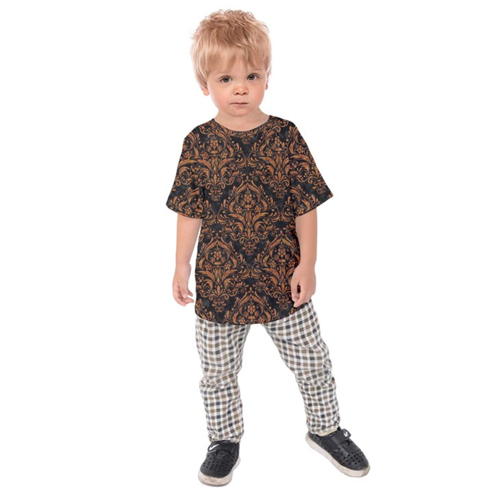 DAMASK1 BLACK MARBLE & RUSTED METAL (R) Kids Raglan Tee