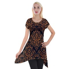 Damask1 Black Marble & Rusted Metal (r) Short Sleeve Side Drop Tunic