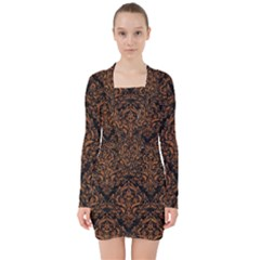 Damask1 Black Marble & Rusted Metal (r) V Neck Bodycon Long Sleeve Dress