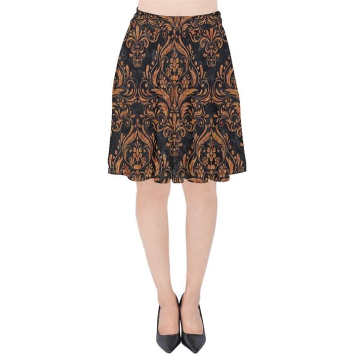 DAMASK1 BLACK MARBLE & RUSTED METAL (R) Velvet High Waist Skirt