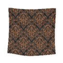 DAMASK1 BLACK MARBLE & RUSTED METAL (R) Square Tapestry (Small) View1