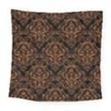 DAMASK1 BLACK MARBLE & RUSTED METAL (R) Square Tapestry (Large) View1