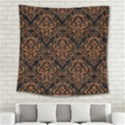 DAMASK1 BLACK MARBLE & RUSTED METAL (R) Square Tapestry (Large) View2