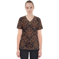 Damask1 Black Marble & Rusted Metal (r) Scrub Top