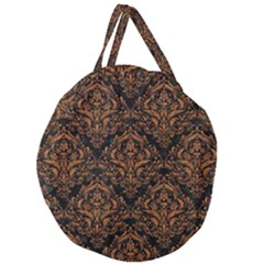 Damask1 Black Marble & Rusted Metal (r) Giant Round Zipper Tote