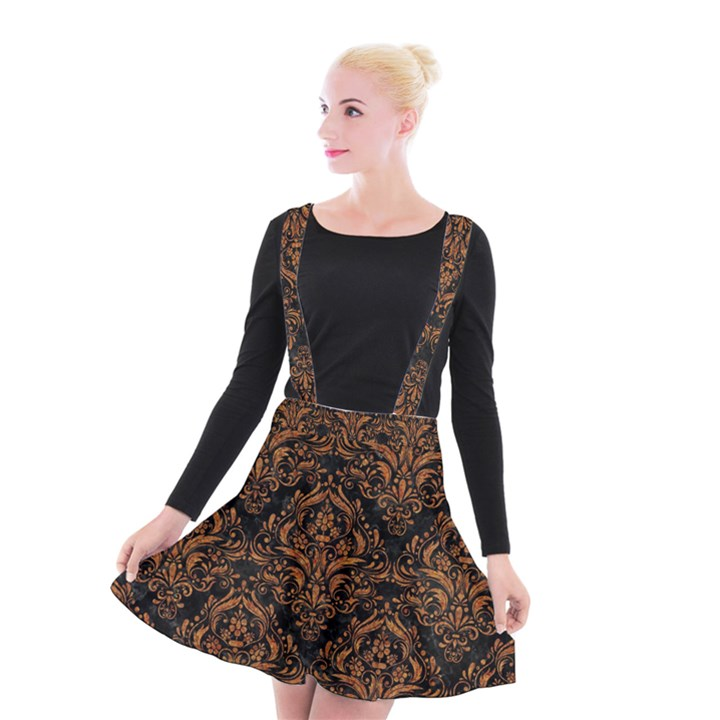 DAMASK1 BLACK MARBLE & RUSTED METAL (R) Suspender Skater Skirt