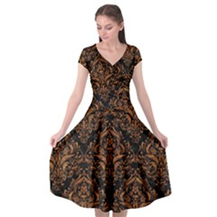 Damask1 Black Marble & Rusted Metal (r) Cap Sleeve Wrap Front Dress