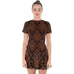 Damask1 Black Marble & Rusted Metal (r) Drop Hem Mini Chiffon Dress