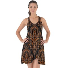 Damask1 Black Marble & Rusted Metal (r) Show Some Back Chiffon Dress