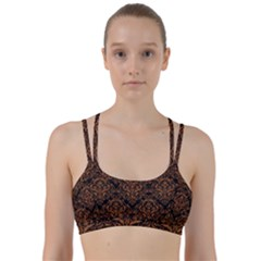 Damask1 Black Marble & Rusted Metal (r) Line Them Up Sports Bra