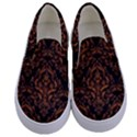 DAMASK1 BLACK MARBLE & RUSTED METAL (R) Kids  Canvas Slip Ons View1