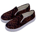 DAMASK1 BLACK MARBLE & RUSTED METAL (R) Kids  Canvas Slip Ons View2