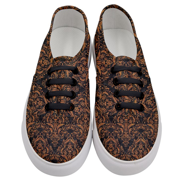 DAMASK1 BLACK MARBLE & RUSTED METAL (R) Women s Classic Low Top Sneakers