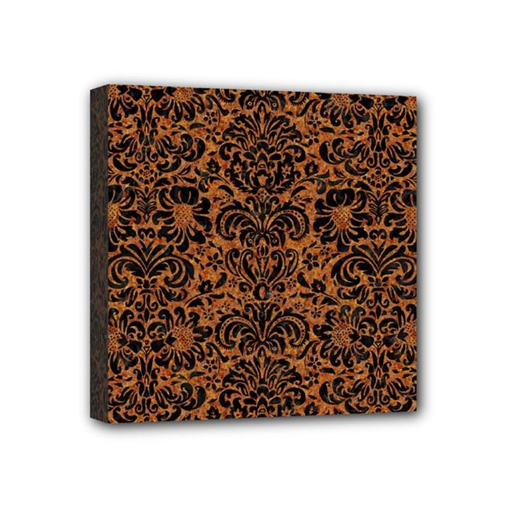 DAMASK2 BLACK MARBLE & RUSTED METAL Mini Canvas 4  x 4