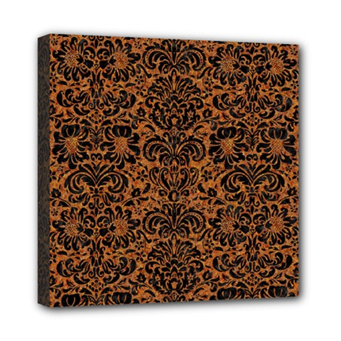 Damask2 Black Marble & Rusted Metal Mini Canvas 8  X 8
