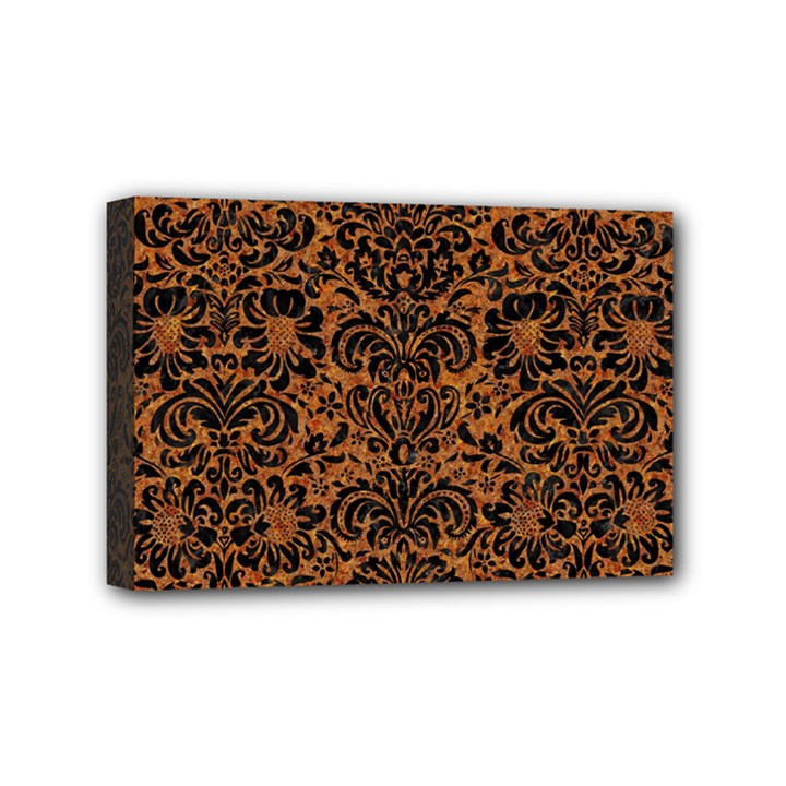 DAMASK2 BLACK MARBLE & RUSTED METAL Mini Canvas 6  x 4