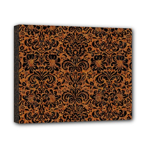 Damask2 Black Marble & Rusted Metal Canvas 10  X 8