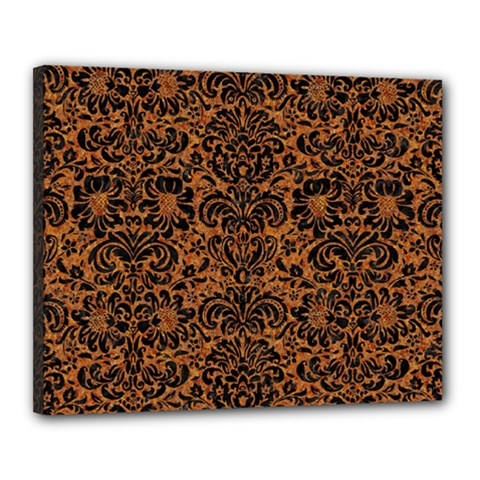 Damask2 Black Marble & Rusted Metal Canvas 20  X 16