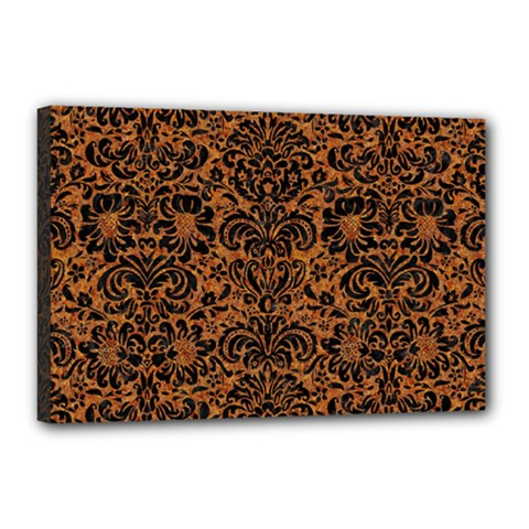 Damask2 Black Marble & Rusted Metal Canvas 18  X 12