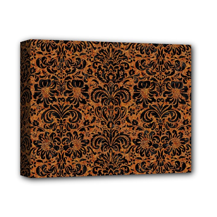 DAMASK2 BLACK MARBLE & RUSTED METAL Deluxe Canvas 14  x 11