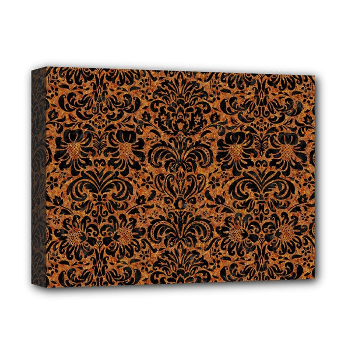 DAMASK2 BLACK MARBLE & RUSTED METAL Deluxe Canvas 16  x 12