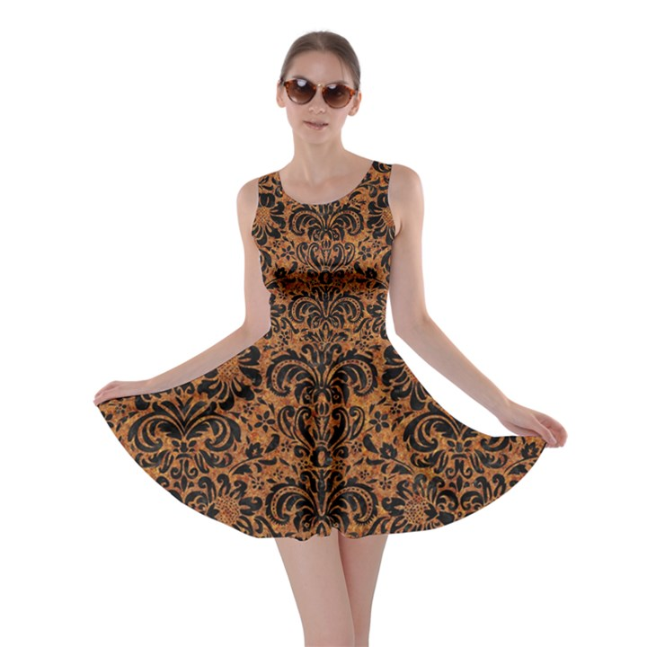 DAMASK2 BLACK MARBLE & RUSTED METAL Skater Dress