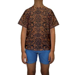 Damask2 Black Marble & Rusted Metal Kids  Short Sleeve Swimwear