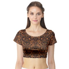Damask2 Black Marble & Rusted Metal Short Sleeve Crop Top