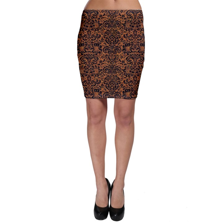 DAMASK2 BLACK MARBLE & RUSTED METAL Bodycon Skirt