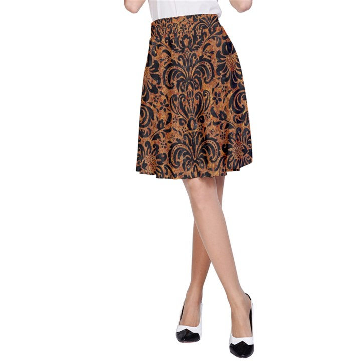 DAMASK2 BLACK MARBLE & RUSTED METAL A-Line Skirt
