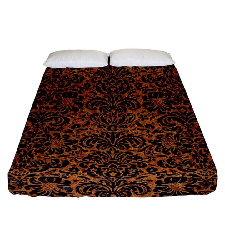 DAMASK2 BLACK MARBLE & RUSTED METAL Fitted Sheet (California King Size)