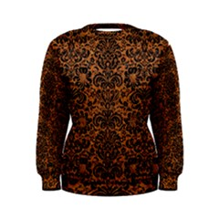 Damask2 Black Marble & Rusted Metal Women s Sweatshirt