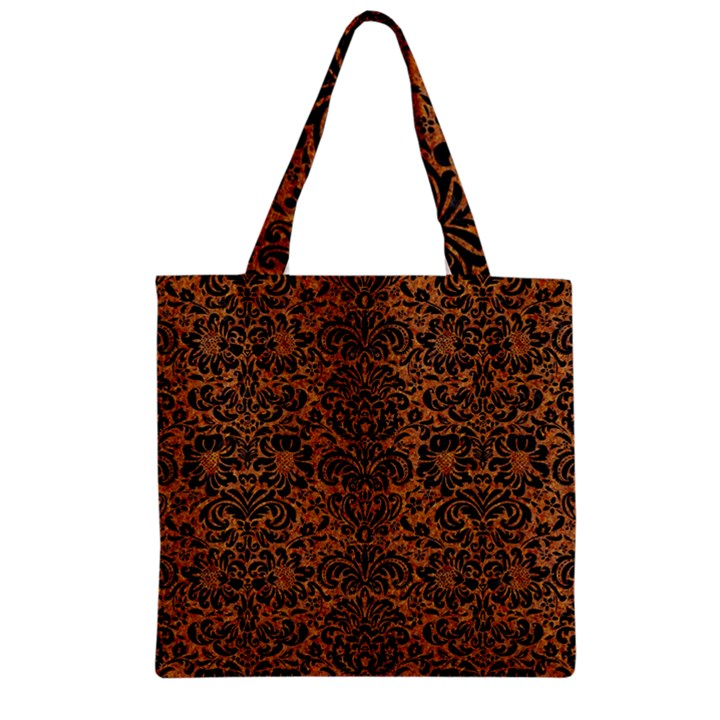 DAMASK2 BLACK MARBLE & RUSTED METAL Zipper Grocery Tote Bag