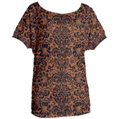 Damask2 Black Marble & Rusted Metal Women s Oversized Tee