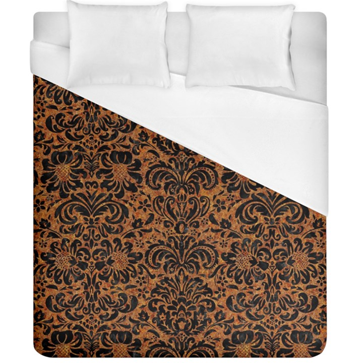 DAMASK2 BLACK MARBLE & RUSTED METAL Duvet Cover (California King Size)