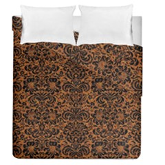 Damask2 Black Marble & Rusted Metal Duvet Cover Double Side (queen Size)