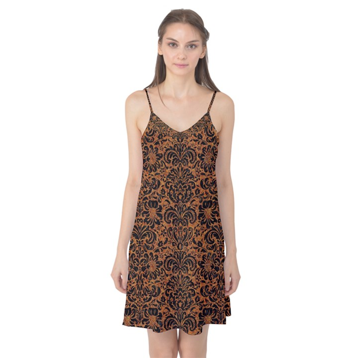 DAMASK2 BLACK MARBLE & RUSTED METAL Camis Nightgown