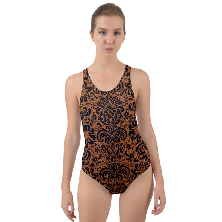 DAMASK2 BLACK MARBLE & RUSTED METAL Cut-Out Back One Piece Swimsuit