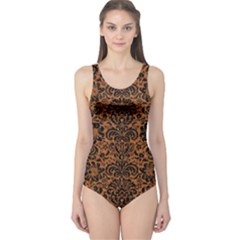 Damask2 Black Marble & Rusted Metal One Piece Swimsuit