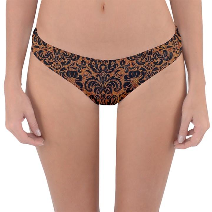 DAMASK2 BLACK MARBLE & RUSTED METAL Reversible Hipster Bikini Bottoms