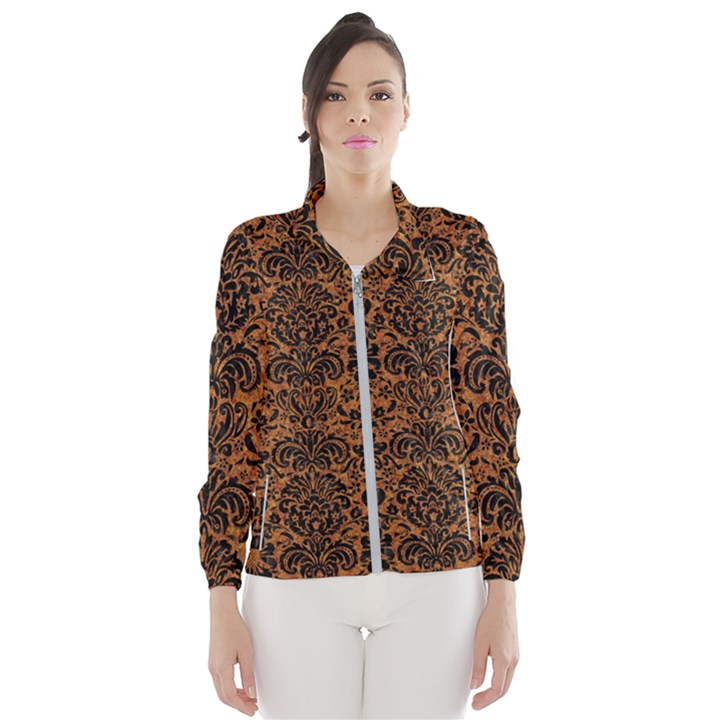 DAMASK2 BLACK MARBLE & RUSTED METAL Wind Breaker (Women)