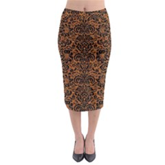Damask2 Black Marble & Rusted Metal Midi Pencil Skirt