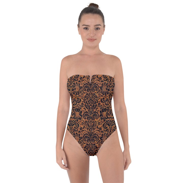 DAMASK2 BLACK MARBLE & RUSTED METAL Tie Back One Piece Swimsuit