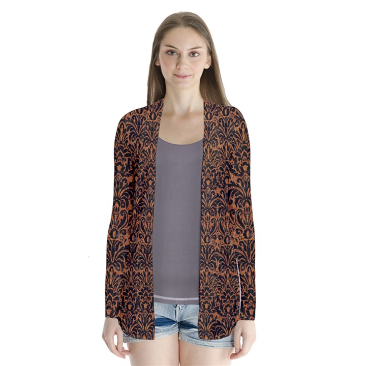 DAMASK2 BLACK MARBLE & RUSTED METAL Drape Collar Cardigan