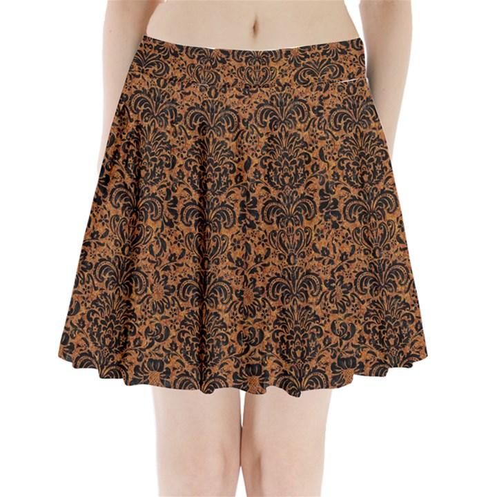 DAMASK2 BLACK MARBLE & RUSTED METAL Pleated Mini Skirt