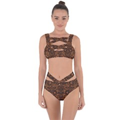 Damask2 Black Marble & Rusted Metal Bandaged Up Bikini Set