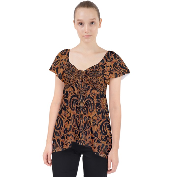 DAMASK2 BLACK MARBLE & RUSTED METAL Lace Front Dolly Top